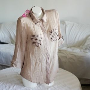 Bebe NWT Button Up studded Top